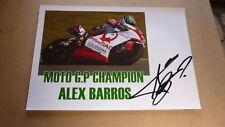 MOTOR CYCLE RACING STAR ALEX BARROS HAND SIGNED 8x11 MOTO GP RACING PHOTO