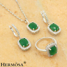75% OFF Charming Green Emerald  Sterling Silver Sets Necklace Earring Rings 8#
