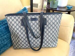 Gucci Navy Blue GG Tote Supreme Coated Canvas Leather Shoulder Bag Large
