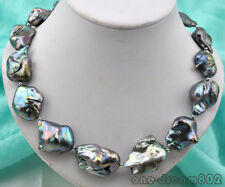 "19""  33mm baroque Black keshi reborn pearl necklace"