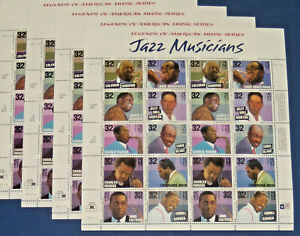 Four Sheets x 20 = 80 Of JAZZ MUSICIANS 32¢ US USA Postage Stamps Sc # 2983-2992