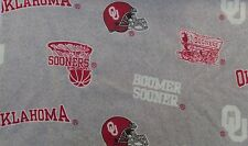 Oklahoma Sooners Sweatshirt Fleece - 1 yd section