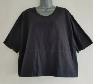 È FREQUENCE DANISH Women's Black Cotton Boxy Cropped Top. Size Medium- UK 10-12.