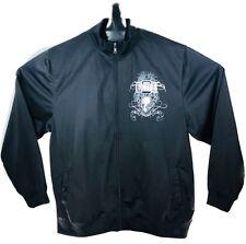 MMA Elite Mens Full Zip Track Black Skull Jacket Large