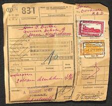 TOURHOUT BELGIUM PARCEL CARD WITH TRAIN RAILWAY STAMPS Q311 & Q321 1952