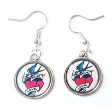 True Love Earrings Ear Hooks Jewellery Silver Tone NEW Rockabilly Sailor Swallow