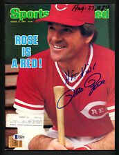 "Pete Rose Autographed Sports Illustrated Magazine Reds ""Hit King"" Beckett S76295"