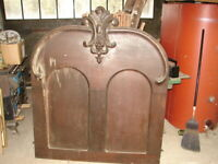 Walnut Victorian Bed Panel w/ Great Crest - WAREHOUSE SOLD - MANY ITEMS MUST GO