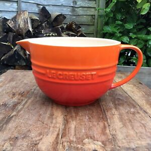 Le Creuset Volcanic Orange 2 Litre Mixing Bowl Jug Good Used Condition