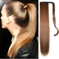 Long Layered Tie Up Pony Tail Clip-On Hair Piece Extensions Wrap Around Ponytail