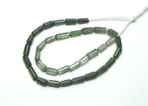 "6.5"" Strand Green TOURMALINE 4-8mm Stick Tube Beads NATURAL"