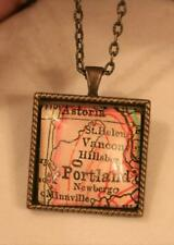 Bead Rim Square Map Sector Portland & Parts of Oregon Brasstone Necklace