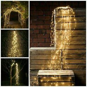 LED Waterfall String Lights Waterproof Copper Wire Fairy Outdoor Garden Lamps