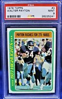 """1978 Topps """"1977 Highlights"""" (275 Rushing Yards) Walter Payton PSA 9 (Bears)"""