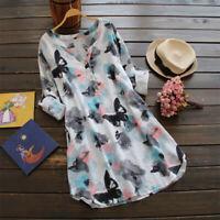 Mode Femme Belle Casual Floral Manche longue Tops Shirt Robe Chemise Mini Plus