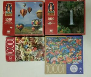 Lot of 4 (1000 pc) Puzzles: Balloons, Waterfall, Ceramics & Toys.  Complete