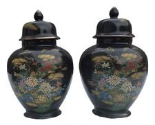 20th Century Floral Gold Trim Cobalt Blue Lidded Kutani Ginger Jar Urn Set of 2