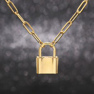 Hot New Fashion Stainless Steel Padlock Pendent Gold Tone Large Link Necklace