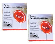 Parkez Flashing LED Light Parking Stop Sign For Garage 2 pack