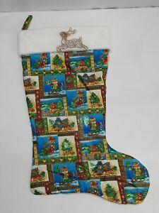 "Handmade Christmas Stocking Teddy bear Reindeer Crhistmas Tree Sled 22"""