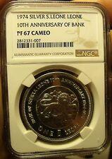 Sierra Leone 1974 Silver Leone 10th Anniv NGC Proof 67 Ultra Cameo~Pop=1~Lion