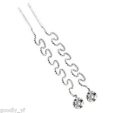 18k White Gold Plated  Austria Zirconia CZ Long-chain Stud Earrings Wedding Gift