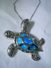 TURTLE PENDANT WITH OPALS AND CHAIN SET IN STERLING SILVER