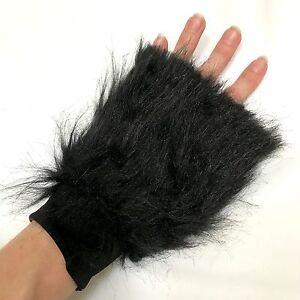 Fur Gloves Black Arm Cuffs Animal Costume Furries Bands Cat Wolverine Halloween