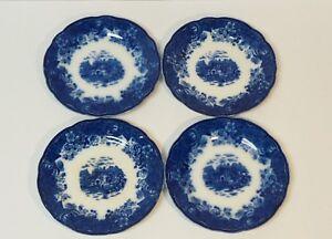 "Set/4 English COUNTRY SCENES Flow Blue 7"" Transfer Ware Dessert Plates"