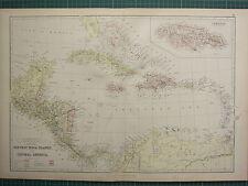 1882 LARGE ANTIQUE MAP ~ WEST INDIA ISLANDS CENTRAL AMERICA CUBA JAMAICA PANAMA