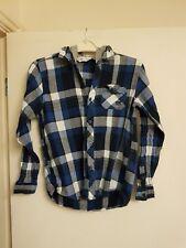 Boys Blue, White & Grey Checked, Hooded Shirt By Kangaroo Poo Age 13 Yrs
