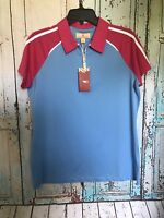 NWT Sz L Sport Haley Womens Pink Blue  L Spandex Polo Top Blouse Orig $75