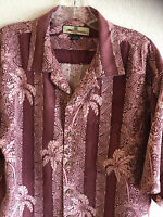 Tommy Bahama Silk Hawaiian Shirt  Polynesian Theme  Grape & White  M