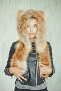 Fox Real Fur Hat With Long Ears Womens Hats Ushanka Russian Hat (Red or Brown)