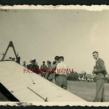 PHOTO WW2 EARLY LUFTWAFFE PLANEUR SEGELFLIEGER GLIDER OFFICERS DRUMS TROMMEL HAT