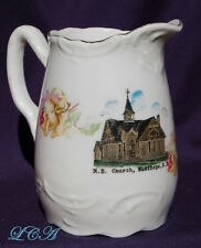 Antique ceramic pitcher WESTHOPE NORTH DAKOTA   M. E. church over a CENTURY old