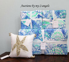 Pottery Barn Lilly Pulitzer Oh Shello Full/Queen Quilt + Std Shams + Pillow Blue