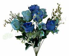 NEW Artificial Flowers/Plants SP0300 Blue & Teal Rose Bunch 50cm