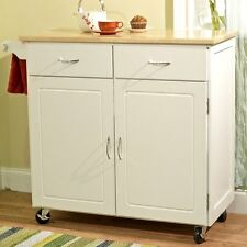 White Kitchen Island Cart Natural Top Home Living Dining Room Storage Furniture