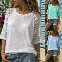 Women Lace Stitching O-Neck Casual Tops Ladies Half Sleeve Pullover Blouse Tees