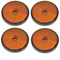 Amber Round Side Reflector Pack of 4 for Trailers Fence / Gate Posts TR066