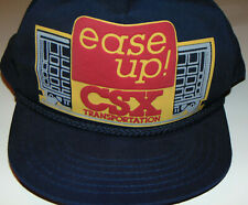 VINTAGE 1980s 'CSX TRANSPORTATION' SNAPBACK HAT! 'EASE UP!' RAILROAD/MADE IN USA