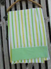 Vintage Cannon Monticello Twin Top Flat Sheet Retro Green Yellow Stripes Fabric
