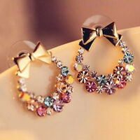 Fashion 1 Pair Women Crystal Rhinestone Bowknot Ear Stud Earrings Jewelry Gift