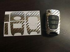Carbonio Argento Cromato Pellicola Chiave Hyundai ad es. i10 i20 i30 ix35 ix20