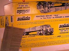 REPLIQUE BOITE BERLIET TBO PETROLIER  300 CV SOLIDO 1964