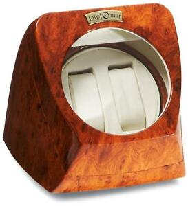 """Watch Winder, for Two Watches, Burl Wood Style Finish, 4.5"""" Window"""