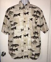 Columbia Men's 100% Cotton Button Front Shirt Fish Graphics Sz Large EUC