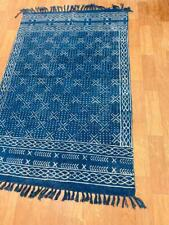 2x3 ft Vintage Indigo Blue Rug Dari Cotton Handmade Woven Carpet Area Floor Rug