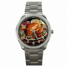 Thanksiving Turkey Dinner Feast Cook Holiday Stainless Steel Watch